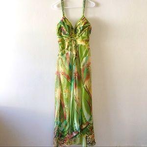 Morrell Maxie green sleeveless silk dress